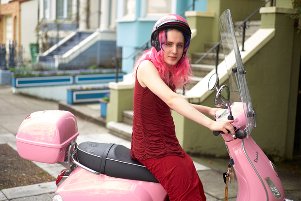 Holden on Pink Vespa