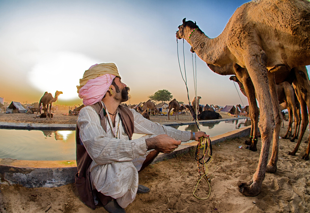 Camel Herder watering his Camel