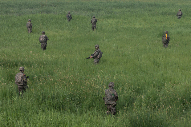 South Korean soldiers search for mines