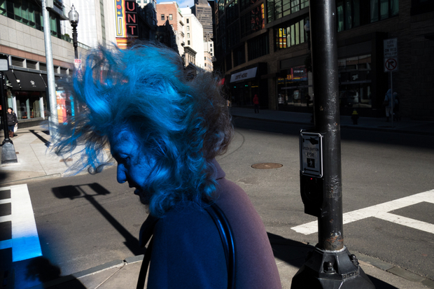 Untitled (Woman in Blue Filtered Light). Boston, MA, USA. © Hank Hauptmann. Chosen for the LensCulture Street Photography Awards Top 100.