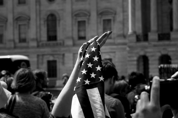 Flag. (Democracy Spring rally against Citizens United Supreme Court Decision, 2016, Washington DC.