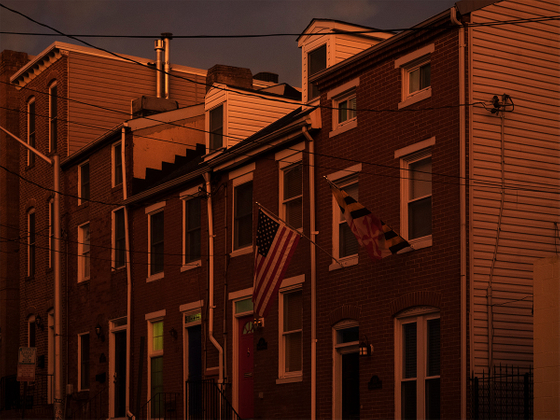 USA. Baltimore. 2015. Buildings at the sunset hour
