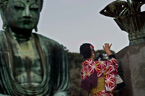 Buddha and girl
