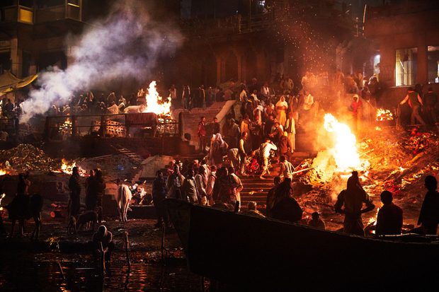 Manikarnika, burning ghat at night