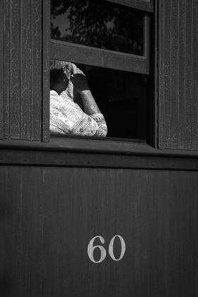 Woman on tourist train. Strasburg.