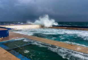 A cloudy and windy morning in Malta. Sliema Pitch, Malta