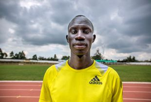 Portrait of South Sudanese Olympic runner James Nyang Chiengjiek (28) at the Kipchoge Keino Stadium in Eldoret, Kenya's Rift Valley.