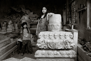 Cousins at Ratna wood in the carving workshop, Bungamatti, Kathmandu