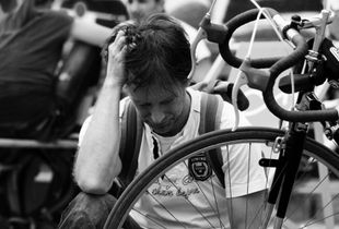 A tired man and his bike