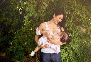 Breastfeeding in real life   in the garden.