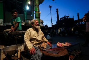 The Old Man and His Meat-Shop behind Delhi Jama Masjid.