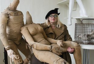 Jayne Hepsibah with her collection of lay figures.