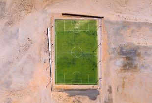 Soccer field in the Omani desert