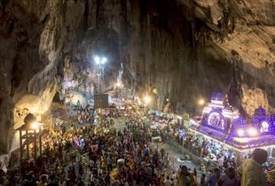 Kanna reached the temple of Murugan (bottom right) inside the Batu caves in Kuala Lumpur, Malaysia, February 3, 2015.