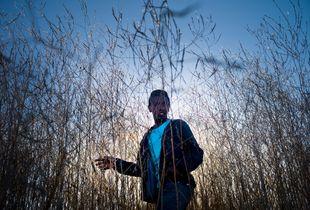 Unaccompanied Sudanese boy backlit in long grass