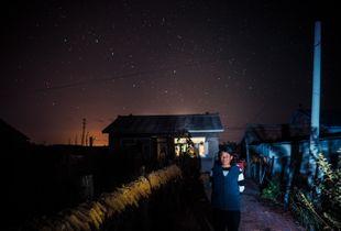 Under the stars.