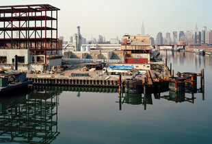 Newtown Creek Water Pollution Control Plant under construction, from 459 North Henry Street, Greenpoint, Brooklyn, looking northwest