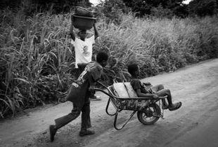 Boys playing with wheelbarrel
