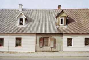 Wooden house partly renewed, Kaunas, Lithuania, September 2015.
