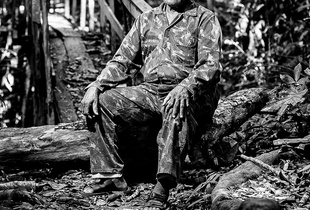 RAIMUNDO SOARES MOREIRA, 84 years old, portrayed in the Amazon rainforest in the surroundings of Porto Velho (Rondônia). He arrived in the Amazon region in 1942, from  (Bahia). He remained for 14 years in the forest, collecting rubber.
