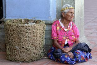 Indigenous Woman Selling Bread, Oaxaca, Mexico.