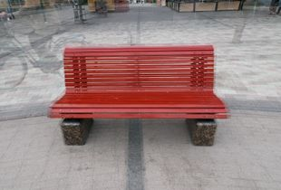 Three red wooden benches, Jakobstad, 2011