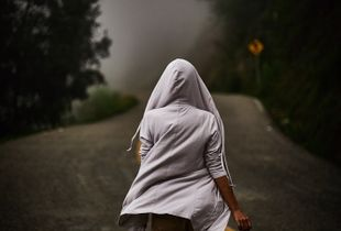 Hoodie and foggy road