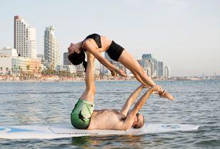 Yoga Couple on the sea of Tel aviv
