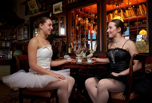 Ballerina's in a cafe