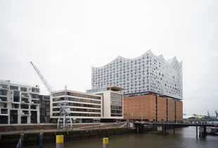 The Elbphilharmonie with its neighbors