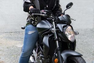 Crystal on her motorcycle.