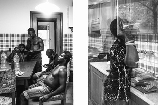 Asylum seekers inside their temporary house in the suburbs of Perugia,  a small town in center Italy.