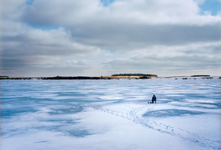 Ice Fishing on Eckelson Lake, east of Eckelson, ND