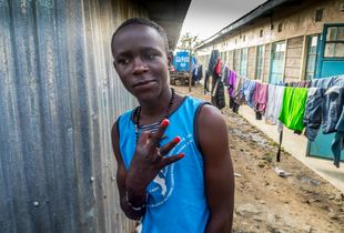 Street boy living in the 'compound community', Kenya.