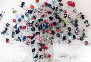 I  take to the skies above Poland to gain a vantage point over a country gripped by harsh winter. The few specks of colour in these images ? a yellow bus on an empty country road, a red tractor in a forest clearing ? are the only signs of human activity in this monochrome landscape © Kacper Kowalski, Poland. Finalist, Landscape, Professional competition. 2014 Sony World Photography Awards