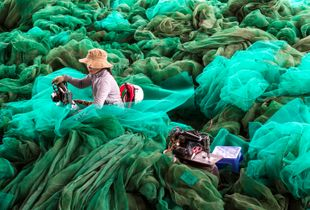 Mending Fishing Nets. A young woman sits in a sea of nylon, repairing fishing nets in the busy port of Hòn Rớ, Nha Trang, Vietnam. All photos were taken on a trip in November/December 2016.