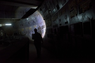a worker inside the damaged control room of reactor number 4. Here everything began. Chernobyl nuclear power plant number 4