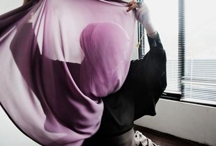 Jenahara, owner and designer of her eponymous brand, recording a hijab tutorial for her You Tube channel.