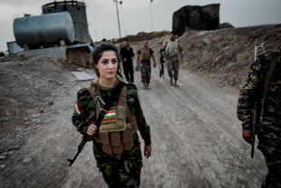 Around 1,000 Kurdish Peshmerga soldiers are holding the frontline south of Erbil against ISIS. Joanna is currently the only female fighter present.