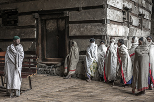 religious people attending holy mess in an orthodox church in ethiopia