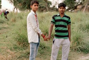 Friends Chotu and Rajan leaving the temple, Sahibganj, Jharkhand 2017
