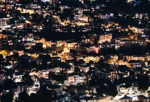 The neighborhood at night.