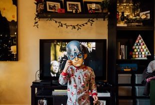 Captain America on Christmas morning.