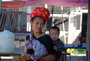 Mother and child in the market
