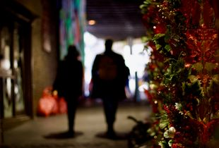Even this dingy alley has become Christmassy.