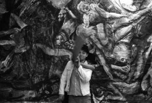 1/3 Edwin and Billy in front of Andy's mural at Camberwell College of Arts, London 1989