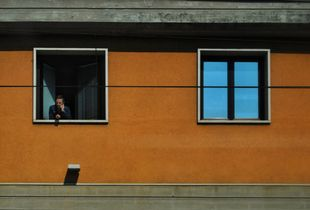 Man on window