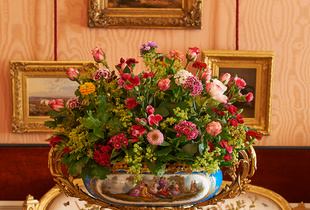 historical flower arrangement in historical rooms at Paleis Het Loo Apeldoorn The Netherlands