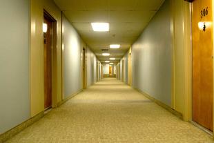 Green Hotel Hallway