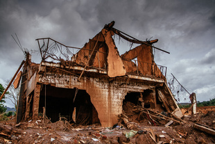 This photograph shows the status of one of the houses of the rural village Bento Rodrigues, Mariana, Minas Gerais, Brazil.